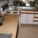 Kitchen counters and tile floor